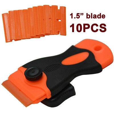 10 Plastic Double Edged Razor Blades and Long Handled Mini Scraper Tint Tools