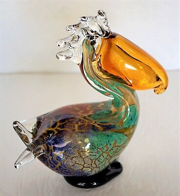 "Blown Glass Pelican Figurine ~ 7.5"" Tall ~ Murano Style ~ Unsigned"
