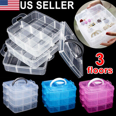 2 Tray Plastic Organizer Storage Jewelry Case Container Holder Craft Tool Box