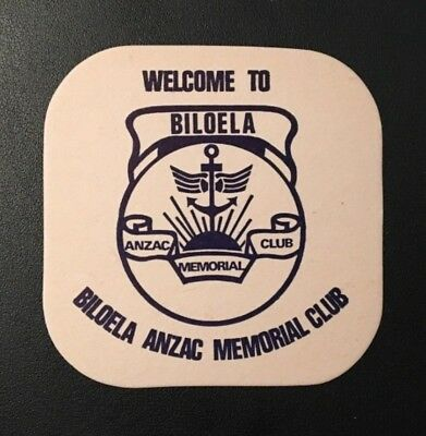 Vintage Biloela Queensland Anzac Memorial Club Drink Coaster