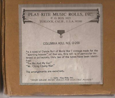 """Nickleodeon Pianola Music Roll for type """"O"""" Piano. World War 1 Selection"""