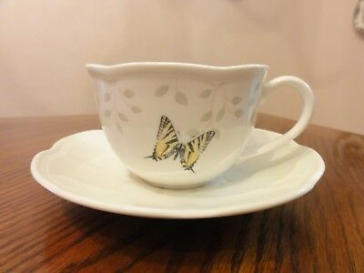 LENOX China BUTTERFLY MEADOW COLORS Green Cup(s) & Saucer(s)