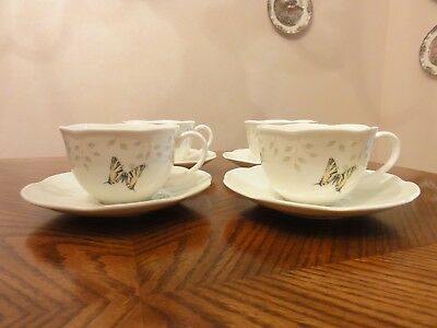 LENOX China BUTTERFLY MEADOW COLORS Green 4 Cup & Saucer Sets