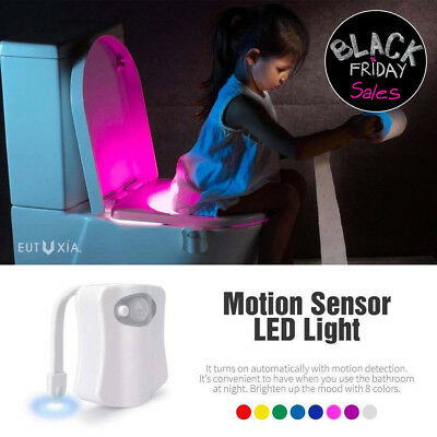 Toilet Night Light 8 Color LED Motion Activated Sensor Automatic Bathroom
