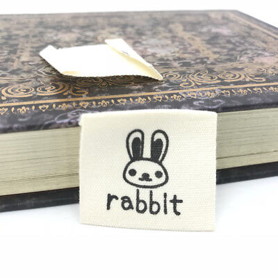 50pcs rabbit Printing cloth Tag Washable Clothing Woven Labels Sewing Accessorie