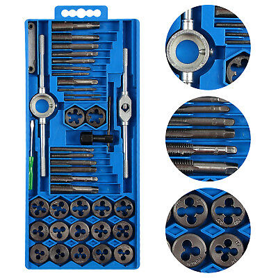 40pc Metric Wrench Tap And Die Set  Cuts M3-M12 Bolts Hard Case Engineers Kit
