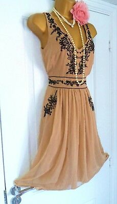 Oasis 1920s Style Gatsby Flapper Charleston Sequin Beaded Dress Size 14