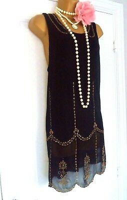 NEXT 1920s Style Gatsby Flapper Charleston Beaded Sequin Dress Size 14