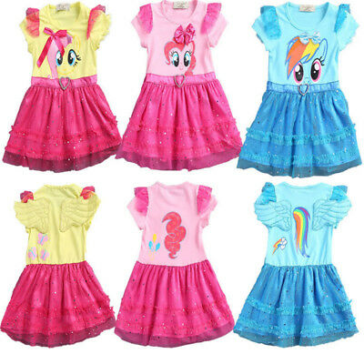 My Little Pony Girl Wing Dress Cartoon Cosplay Fancy Party Kids Princess Costome
