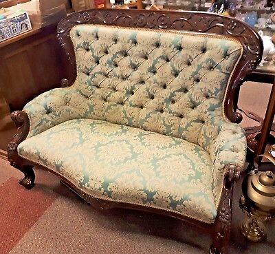 Antique French Style Salon Sofa Mahogan Button Back Dix Blue/Green Brocade