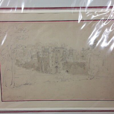 Antique 19th Century Pencil And Wash Sketch Of Manor House Guy's Cliffe