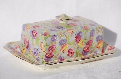 "Royal Winton Grimwades Butter Dish & Cover ""Stratford"" Chintz c.1950's"