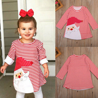 Canis Infant Baby Girl Christmas Santa Claus Dress Party Tops Shirt Clothes