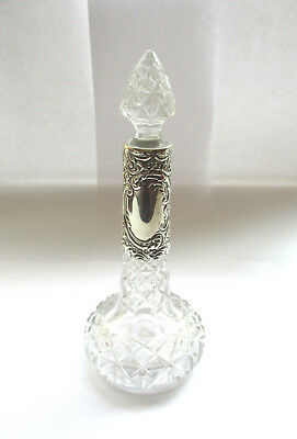 Walker & Hall Solid Silver and Cut Glass Perfume Bottle, Sheffield 1905