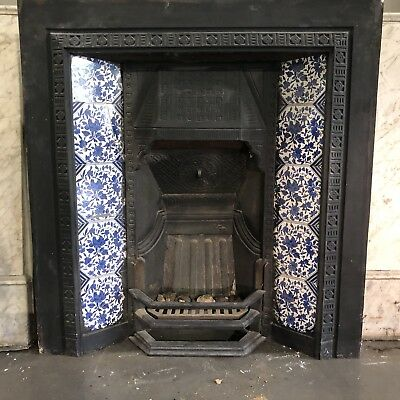 Cast iron Fireplace & Marble Surround With Victorian Tiles