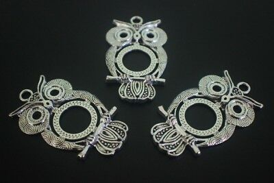 3 pce Large Metal Antique Silver Owl Pendant 52mm x 30mm Jewellery Making Craft
