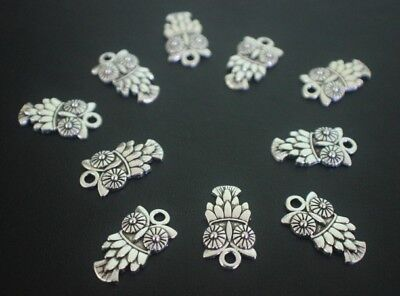 16 pce Metal Antique Silver Owl Charms 20mm x 11mm Jewellery Making Craft
