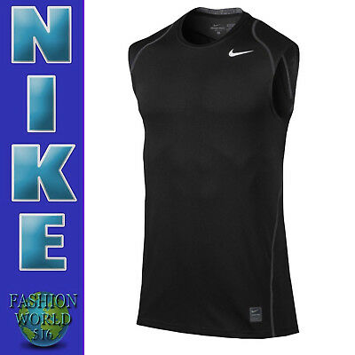 449ee8b162b8a6 Nike Men s Size Small Pro Cool Fitted Dri-FIT Sleeveless Shirt 703102 Black