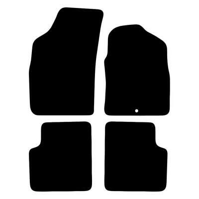 Tailored Black Car Floor Mats Carpets 4pc Set with Clips for Fiat 500 08 - 12