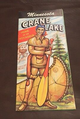VINTAGE 1960's CRANE LAKE MINNESOTA BROCHURE MAP