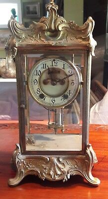 Antique Crystal Regulator Clock by New Haven Clock Company Parts or Repair