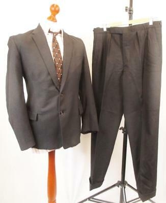 38R W32 - Vintage 60's Mens 2Pce Tailored Bespoke Wool Suit Smart Retro - C921