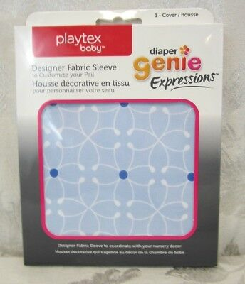 Playtex Baby Diaper Genie Expressions Diaper Pail Fabric Sleeve Cover~Blue Tile