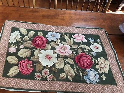 antique needlepoint cover bench pillow maroon flowers hand made original