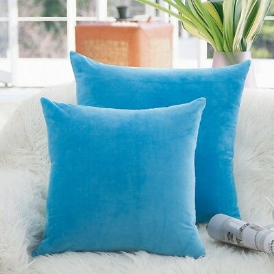 (20 x 20 (Set of 2), Blue) - Luxury Velvet Throw Pillow Covers Soft Smooth