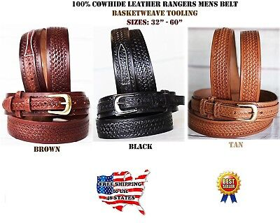 35-36 PRORIDER Men's Western RANGER BELT Tooled Leather Basket Weave Black