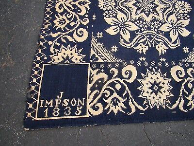 """1835 Handwoven/Spun Blanket ~ Signed & Dated ~ 84"""" x 90"""" ~ Reversible"""