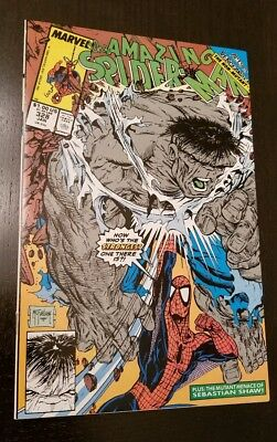 AMAZING SPIDER-MAN #328 (Jan 1990) Incredible Hulk McFARLANE art NM 9.4