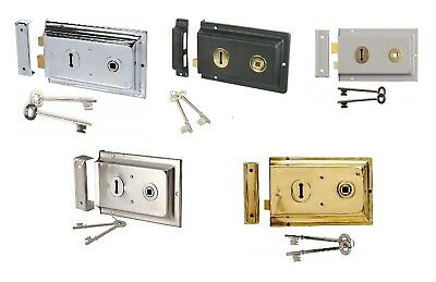 Traditional 1920s Victorian Style Rim Lock with Keys 150X100mm in 5 Finishes