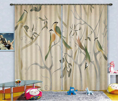Branch Peacock template 3D Curtains Blockout Photo Printing Curtain Drape Fabric