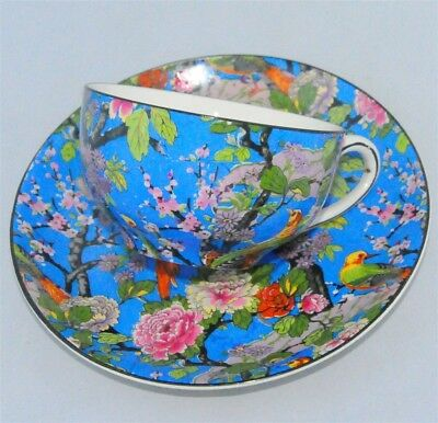 Crown Ducal Ware England Blue Chintz Flowers & Birds Teacup & Saucer ( Tea Cup )