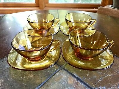 Vintage Vereco-France Amber Glass Square Cup and Saucer Mid Century Mod 4 Sets