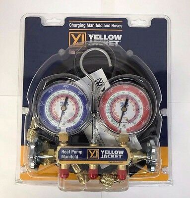 "Yellow Jacket 42044 Heat Pump Manifold, 60"" Hoses R-22/407c/410a"