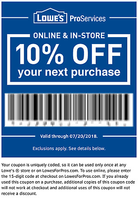 GENUINE LOWES 10% Off-coupon- Saving Off Entire Purchase- Use In Store