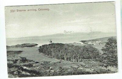 Scottish Island Postcard Mail Steamer Arriving Colonsay Inner Hebrides Used 1913
