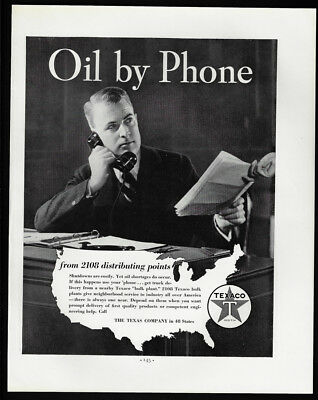 1938 Vintage Print Ad 30's TEXACO oil gas man talking on telephone image photo