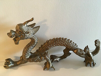 Rare Vintage Solid Brass Dragon Holding Globe in Claws