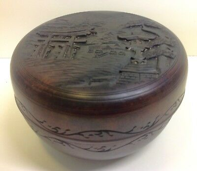 Antique Chinese Hardwood Carved Lidded Bowl.
