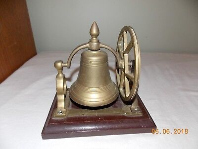 Old Brass Ship's Bell With Mount Pulley Wheel Desk Bell on Wood Base