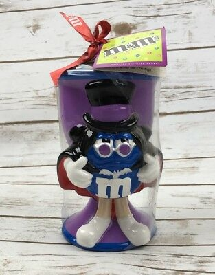 M&M Collectible Halloween Goblet Ceramic Mug Blue Dracula Vampire NWT/DEFECT