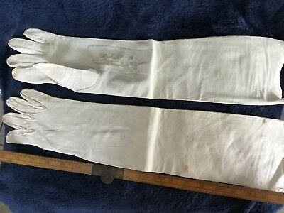 Leather Opera Length Gloves Good Condition Costume