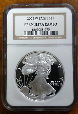 2004-W Proof Silver American Eagle PF-69 NGC ULTRA CAMEO Brown Label