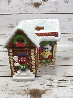 M&M Collectible Ceramic Cookie Jar Candy Bakery Lodge Red Yellow Characters