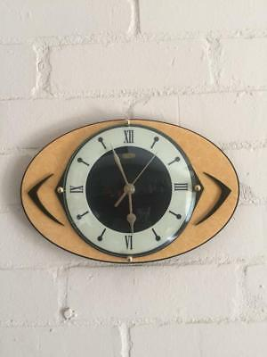 Mid Century Retro Atomic style formica Wall Clock Hand Made in the UK by Royale