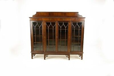 Antique Mahogany Bookcase, Antique Breakfront Bookcase, Scotland 1900, B1026