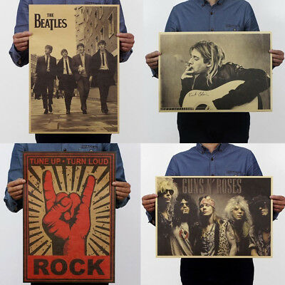 Band Stars Picture Music Rock Poster Vintage Retro Kraft Paper Festival